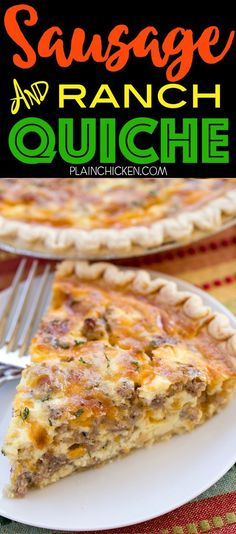 Sausage and Ranch Quiche - so quick and easy Everyone LOVED this recipe Can make ahead and freeze for later Pie crust sausage ranch dressing cheddar cheese heavy cream eggs and pepper Ready to eat in an hour Great for breakfast lunch or dinner THE BEST # Breakfast At Tiffany's, Breakfast Quiche, Sausage Breakfast, Breakfast Dishes, Breakfast Casserole, Breakfast Recipes, Breakfast Skillet, Breakfast Burritos, Sausage Pie