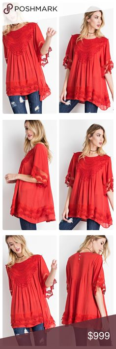 COMING SOON NWT SCARLET SHORT SLEEVE TOP LIGHTWEIGHT SHEER WING CROCHET SLEEVES RAYON GAUZE RUFFLED TUNIC BLOUSE WITH FRONT PATCH CROCHET DETAILING (MODEL HEIGHT 5'10)  Fabric: RAYON GAUZE  Content: 100%RAYON  LIGHT SHEER CROCHET TUNIC BLOUSE Tops Tees - Short Sleeve