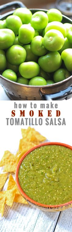 How to smoke tomatillos and made a fantastic smoked tomatillo salsa. It's sooo easy and everyone LOVES it! It's fantastic on pork sausages, chicken, or just simply with chips.