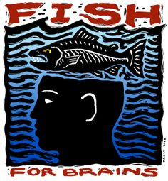 """""""Fish For Brains"""", scratchboard with digital color, 4"""" x 4"""", 2000, © Ray Troll"""