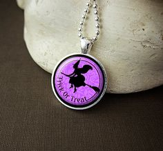 Trick Or Treat Witch Purple and Black Glass by inkdotstudio, $11.00
