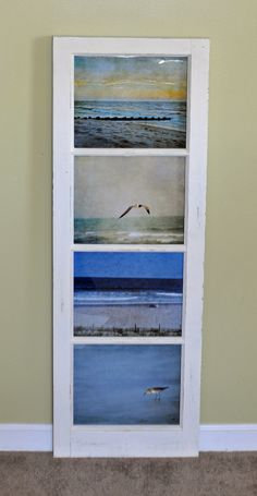 This is an old window that I have lovingly upcycled by stripping and repainting it. The frame is solid wood and is well made. The photographs are