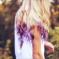 Purple dip dye...I love the touch of color but they say pastels are whats in for peek-a-boo color in light blond locks...