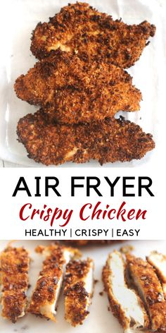 Best healthy Air Fryer crispy chicken recipe made with Parmesan cheese and chicken cutlets. healthy fried chicken for a weeknight meal that is a family friendly and kid friendly chicken recipe fryer recipes healthy Air Fryer Healthy Crispy Chicken Air Frier Recipes, Air Fryer Oven Recipes, Air Fryer Dinner Recipes, Air Fryer Recipes Chicken Breast, Recipes Dinner, Air Fryer Recipes Gluten Free, Healthy Fried Chicken, Crispy Chicken Recipes, Chicken Cutlet Recipes