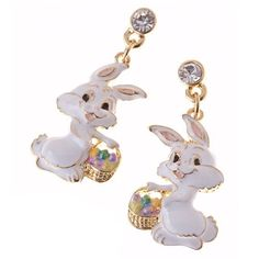 Spring Easter Jewelry Bunny with Easter Egg Basket Crystal Earring Gold Clear « MyMallHome.com – Closest Shopping Mall on the Internet