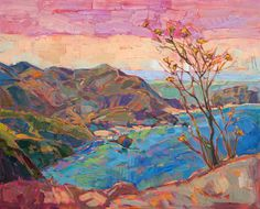 Early California style coastal painting with mustard flowers, by Erin Hanson | #LA artist | oil on canvas landscapes of the west