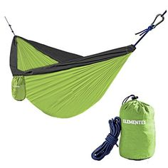 Great Camping Hammock : ELEMENTEX Portable Parachute Nylon Travel Camping Backpacking Hammock  Large Gray  GreenELEMENTEX Portable Parachute Nylon Travel Camping Backpacking Hammock  Large Gray  Green *** See this great product.(It is Amazon affiliate link) #babyootd