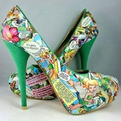 disney tinkerbell heels disney princess going out shoes comic book shoes ooak customised