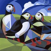 Puffin Paradise First Prize in the abstract/experimental category of The Artist 2000 Celebration Competition Image Size 20 x SOLD Limited edition giclee prints available Contact Alison about this painting Back to Gallery Owl Art, Bird Art, Puffins Bird, Wildlife Paintings, Cool Art Projects, Lowbrow Art, Bird Illustration, Applique Quilts, Art Techniques