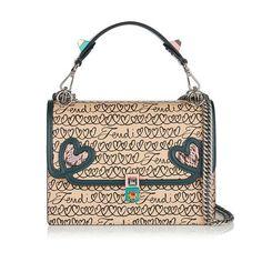 3ab9405f6540 Medium Kan I Beige Open Heart Writing Calfskin Leather Shoulder Bag