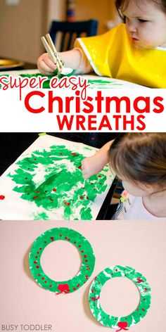 Easy Christmas Wreath Activity: Check out this adorable holiday art activity for toddlers; an easy toddler activity; Preschool Christmas Crafts, Christmas Art Projects, Christmas Crafts For Kids To Make, Toddler Christmas, Christmas Activities, Simple Christmas, Christmas Themes, Holiday Crafts, Christmas Wreaths