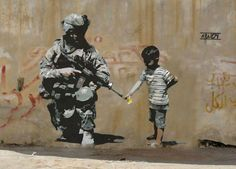 En 'El muro de la vergüenza' entre Gaza e Israel. El #streetart de Banksy en Palestina