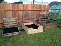 Raised beds made from used pallets. Ooh my goodness, if you put them back to back you would have trellis as well!!!