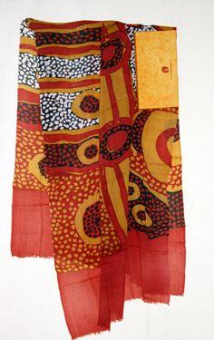 Shawl made in Kashmir with Aboriginal artwork