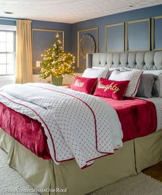 Our Red + White Christmas bedroom featuring bedding from HomeGoods (sponsored). I found this cute red and white diamond coverlet and decided to mix black polka dot flannel sheets and a red velvet king blanket along with two black gingham pillowcases.