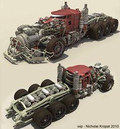Truck WIP 7 by ~chiaroscuro on deviantART Not sure if this a little too modern for Dieselpunk? Cyberpunk, Arte Steampunk, Futuristic Cars, Chiaroscuro, Panzer, Armored Vehicles, Dieselpunk, Art Cars, Custom Cars