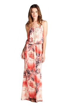On Trend Women's Floral Rose Blouson Maxi Dress *** To view further, visit now : Dresses