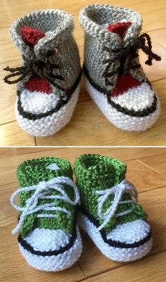 Free knitting pattern for little converse booties baby booties inspired by the iconic athletic shoe in a variety of variations size 0 6 months worsted weight yarn designed by blanchn Baby Booties Knitting Pattern, Knit Baby Shoes, Booties Crochet, Crochet Baby Booties, Baby Knitting Patterns, Knitting Socks, Free Knitting, Slippers Crochet, Baby Socks