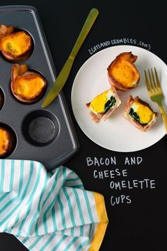 Bacon cups stuffed with spinach, a perfectly cooked egg and topped with melty cheddar cheese for a perfect, simple low calorie breakfast! Low Calorie Breakfast, Make Ahead Breakfast, Perfect Breakfast, Breakfast Dishes, Ww Recipes, Chicken Recipes, Cooking Recipes, Healthy Recipes, Asian Recipes