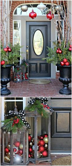 25 Gorgeous Farmhouse Inspired DIY Christmas Decorations For A Charming Country Christmas! Easy and doable diy projects that costs almost nothing to make! One of the best Christmas decoration collection! Christmas Cover, Christmas Porch, Farmhouse Christmas Decor, Country Christmas, Xmas, Church Christmas Decorations, Creative Christmas Trees, Christmas Lanterns, Christmas Ideas