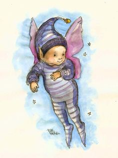 What could be cuter than a baby fairy in striped pajamas? My baby grandson was the inspiration for this little watercolor sketch.