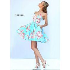 Sherri Hill 32246 - Yellow Floral Print Strapless Dress - RissyRoos.com