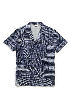 Folk Navy Gray Double Dot Print Short Sleeve Shirt www.shopwittmore.com