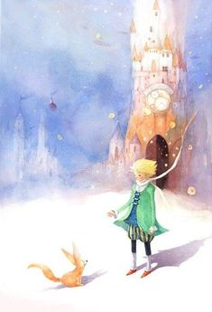 Scene from The Little Prince, illustration by Kim Min Ji Art And Illustration, Kim Min Ji, The Little Prince, Storyboard, Cute Art, Illustrators, Fantasy Art, Fairy Tales, Concept Art