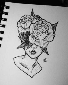 By Mattie Baker Instagram: @black.bird.Illustration #lady #ladyhead #art #drawing #design #pretty #flower #pointillisim #stippiling #dots #leaves #details #tattoo #tattoodesign #blackandwhite #illustration #flowerhead #surreal