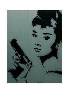 BLOODBATH AT TIFFANY'S Audrey Hepburn Art Breakfast at Tiffanys Portrait Graffiti Stencil Original Painting 12 x 16 Pop Art Portrait. $59.00, via Etsy.