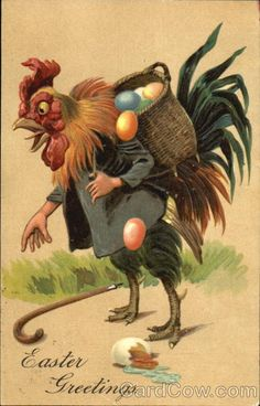 Art~ Rooster With Easter Eggs Tumbling Out Of His Basket~ Animals Dressed