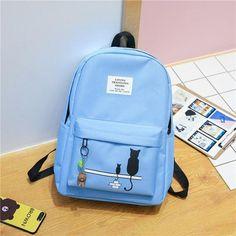 cute Cartoon cat nylon backpack women High school bags for teenage girls  2019 solid bagpack black back pack female 9ea7b0cdd4b97