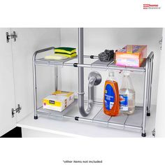 Home Basics 2-Tier Expandable Under-the-Sink Shelf with Adjustable Panels