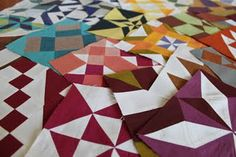 Farmer's wife sampler quilt blocks in solids. Beautiful.