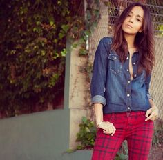 Denim & plaid