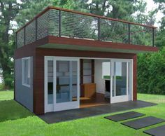 Backyard Office With Roof Deck design. Home office in the backyard for home based business owners or telecommuters.