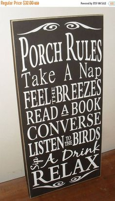 20% OFF TODAY Porch Decor Porch Rules Sign Typography Subway Art Wooden Sign 12 x 24 You Pick Colors by SignsMakeASmile on Etsy https://www.etsy.com/listing/237658662/20-off-today-porch-decor-porch-rules