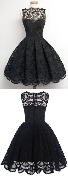 Black Prom Dresses,Short Prom Dress,Lace Prom Dresses,Short Homecoming Dresses,Lace Homecoming Gowns, 2017 Prom Dresses,A-Line Prom Dress,Sleeveless Prom Dresses,Knee Length Prom Dresses