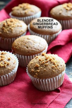 Soft Moist Triple Ginger Gingerbread Muffins with candied, fresh and ground ginger and gingerbread spices. Blender Muffins! Vegan Nut-free Soy-free Recipe