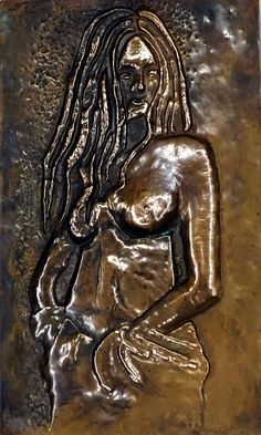 A women repoussed and besmudged on a copper.