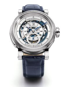 The German watch firm Grieb & Benzinger, known for its one-of-a-kind skeletonized watches with intricate guilloché embellishments, has released its latest, called Blue Whirlwind, a skeletonized tourbillon minute repeater based on a rare Patek Philippe caliber.