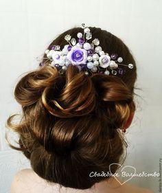"""Handmade beaded wedding diadem /  украшение в прическу для невесты """"Розы сиреневые-1"""" - свадебные аксессуары, свадьба, свадебное украшение"""