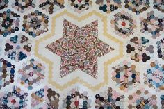 Antique quilt/coverlet, 1820, English paper peicing, netted lace edging