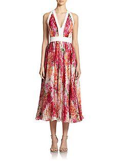 Carmen Marc Valvo Illusion Halter Floral-Print Cocktail Dress