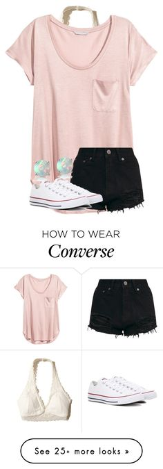 """""""Untitled #3844"""" by laurenatria11 on Polyvore featuring Hollister Co., H&M, Converse and Glitzy Rocks"""