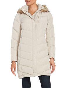 Calvin Klein Petite Faux Fur-Trimmed Down Coat
