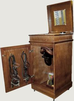 """The Vertical Saddle Trunk in Shop Online Tack Trunks The Vertical Saddle Tack Trunk measures ( 22"""" x 22"""" x 42"""" ) and weighs about 90lbs.  $750.00"""