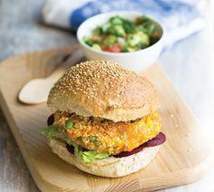 Kumara vege burgers with avocado salsa - Healthy Food Guide Healthy Food, Yummy Food, Healthy Recipes, Kumara Salad, Vege Burgers, Beetroot Burgers, New Recipes For Dinner, Patties Recipe