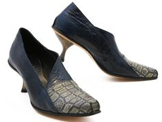 A blue leather pump with a mock croc toe—the Cydwoq Transmit is a serious bite of arty style! xo, Ped Shoes.