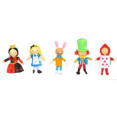 """Coffret de marionnettes à doigt """" Alice au pays des merveilles"""" - Peluches et jouets en bois"""